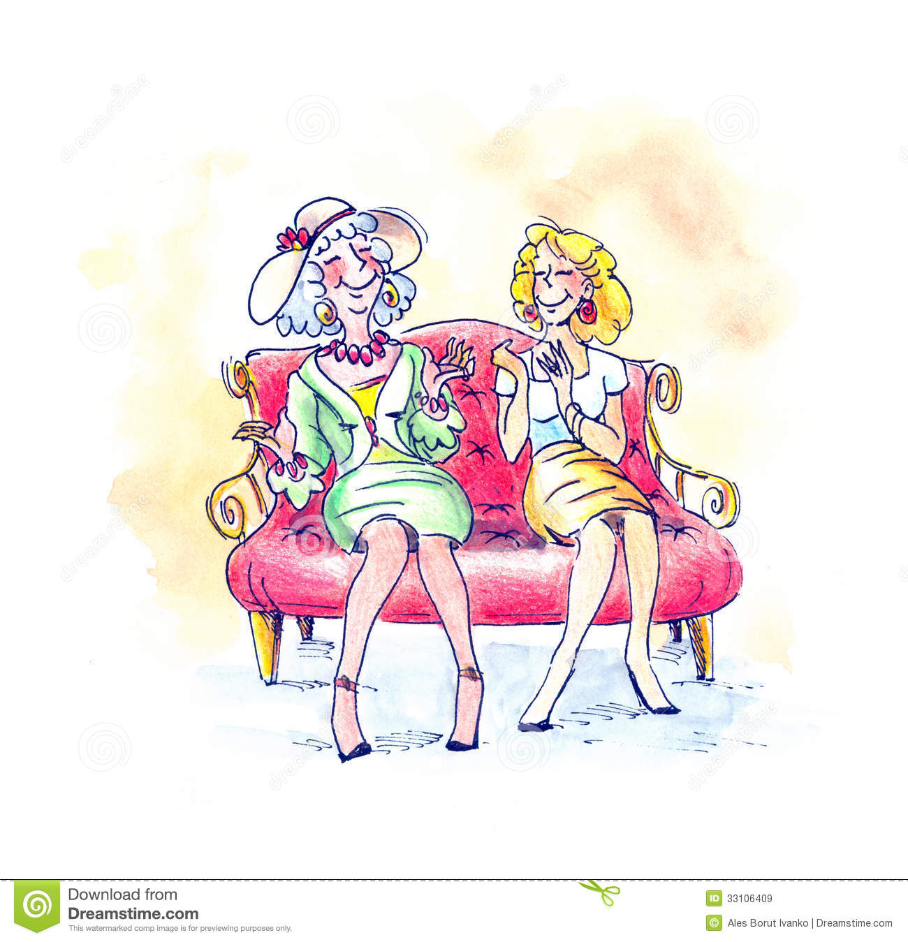 Two older females seating