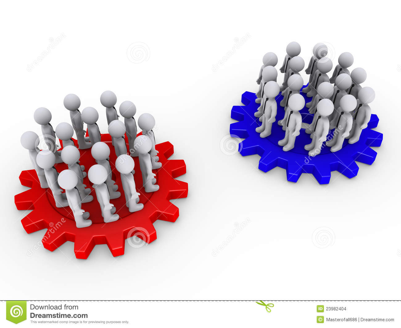 Two Opposing Teams On Cogwheels Stock Images Image 23982404