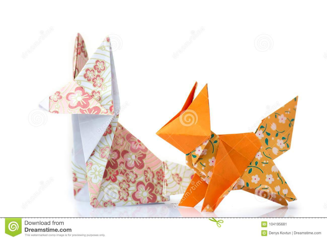 Two Origami Foxes Stock Image Of Exhibition Japanese