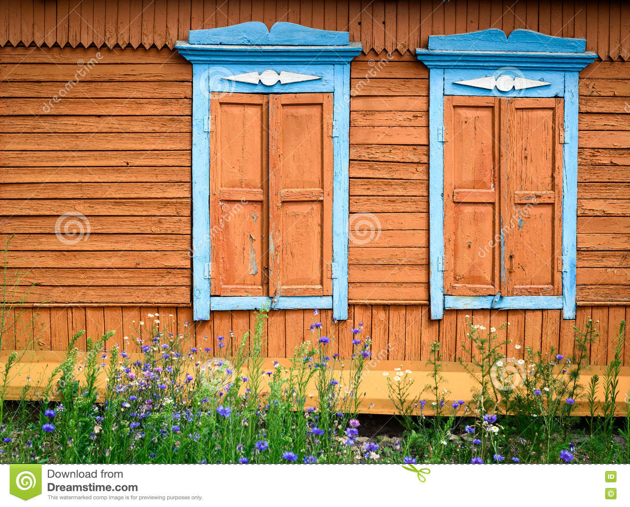 Wooden window frames and flowers stock image 61108045 for Painting exterior wood windows