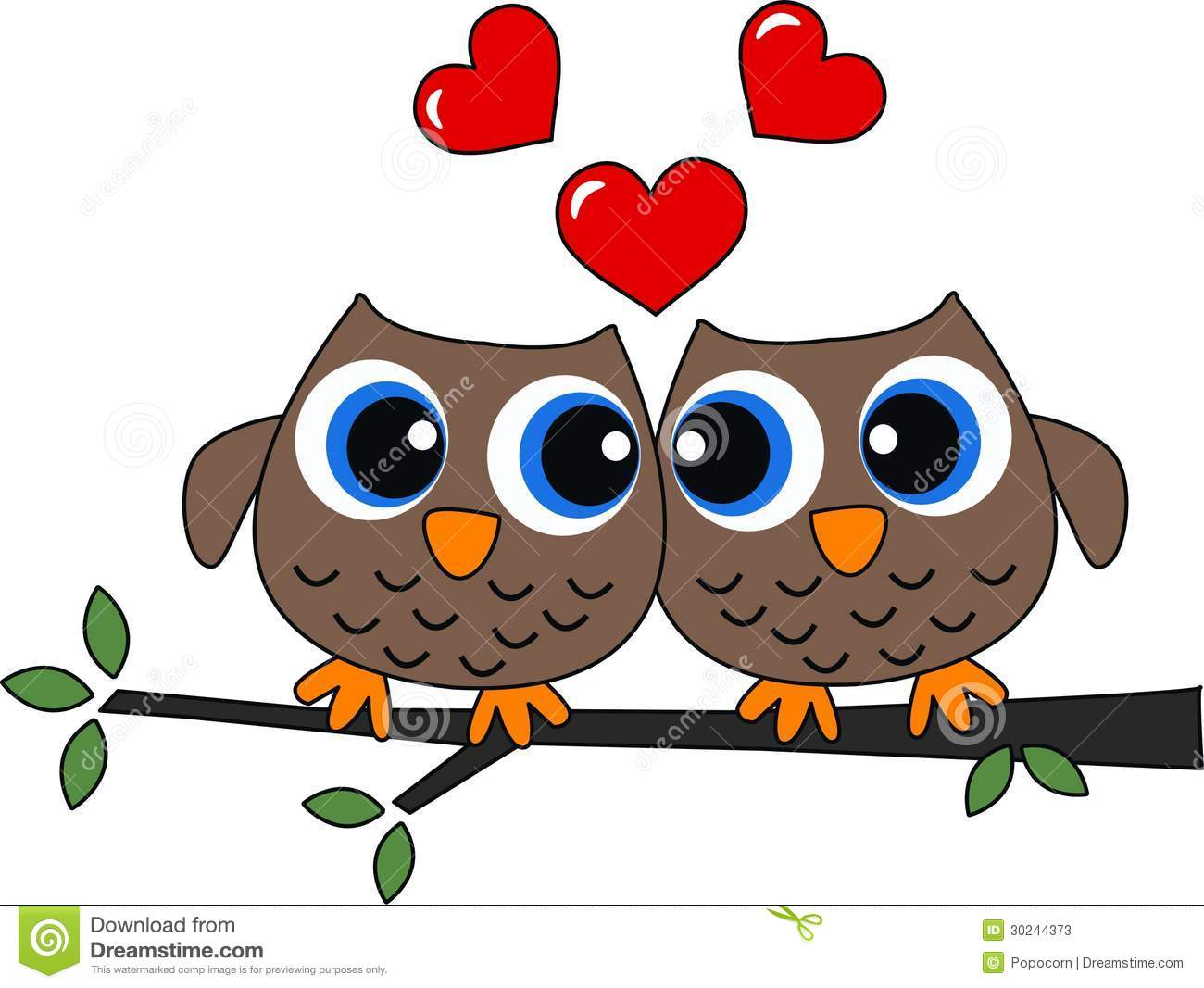 Two Owls In Love Stock Image Image Of Colour Brown 30244373