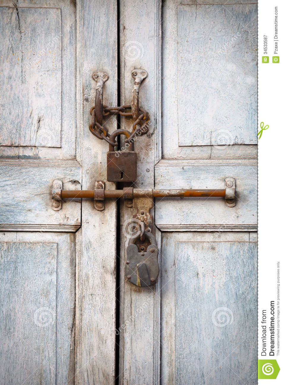Two Padlocks On The Old Door Royalty Free Stock