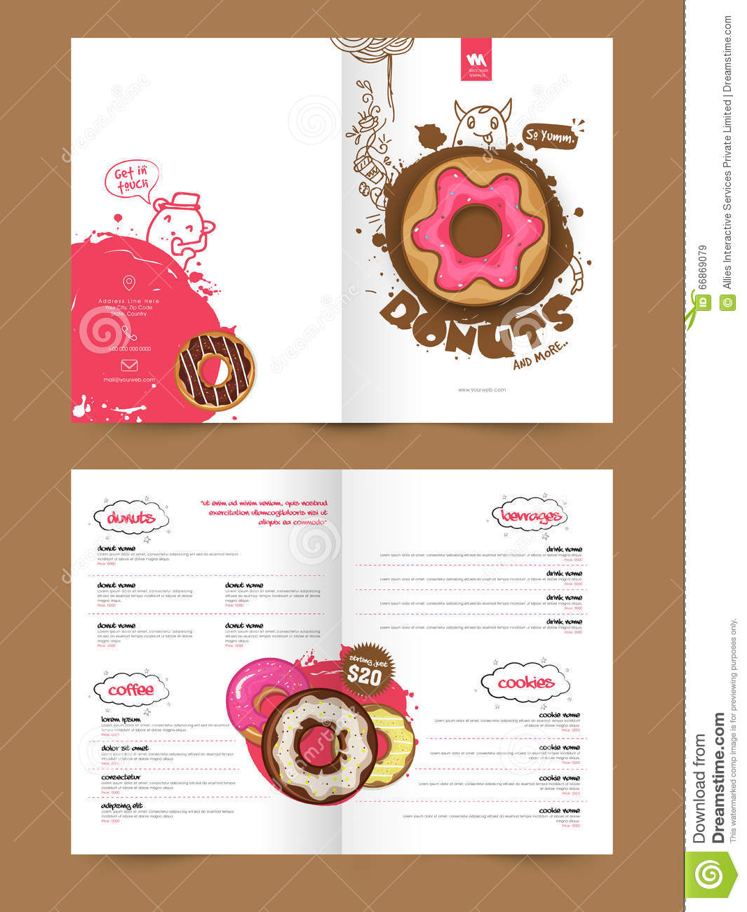 Two page brochure template or flyer for bakery stock for Free templates for brochures and flyers