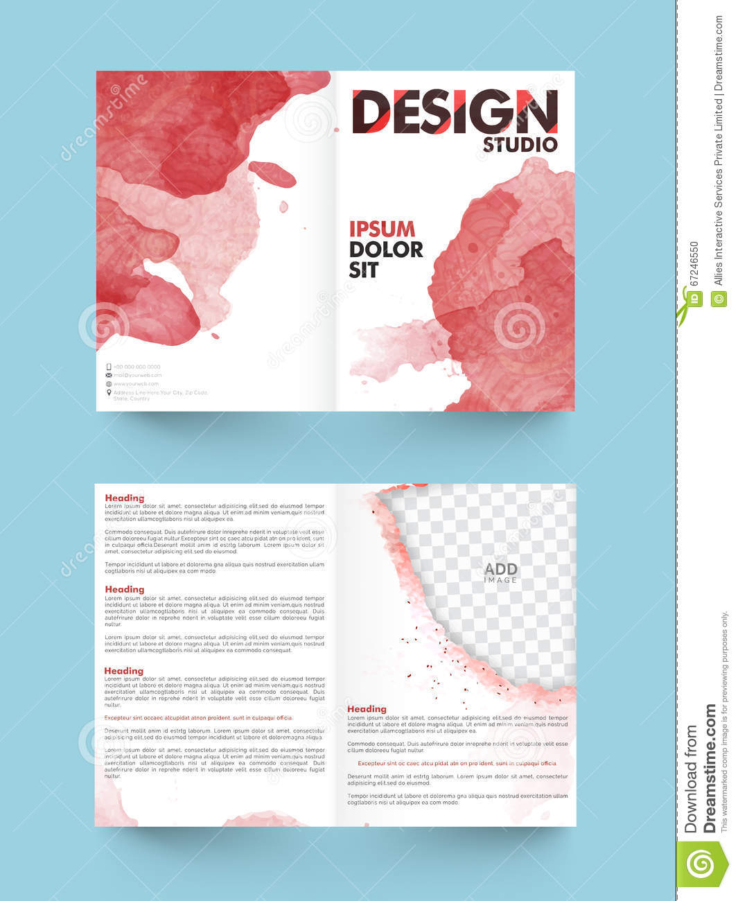 Two page brochure template or flyer for business stock for Two page brochure template