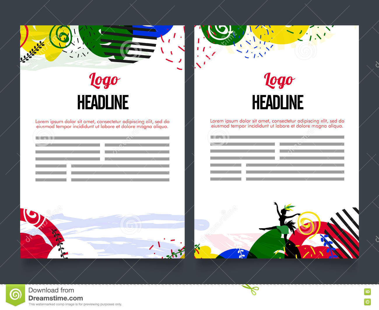 two page brochure template or flyer design stock illustration