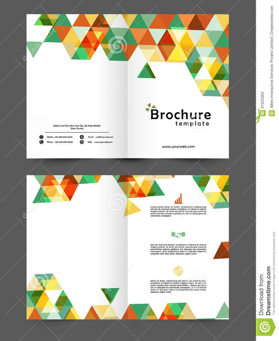 two page brochure template two page business brochure or template stock illustration