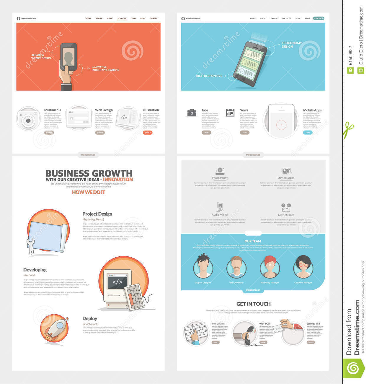 Two page website design template with concept icons and for Company portfolio template doc