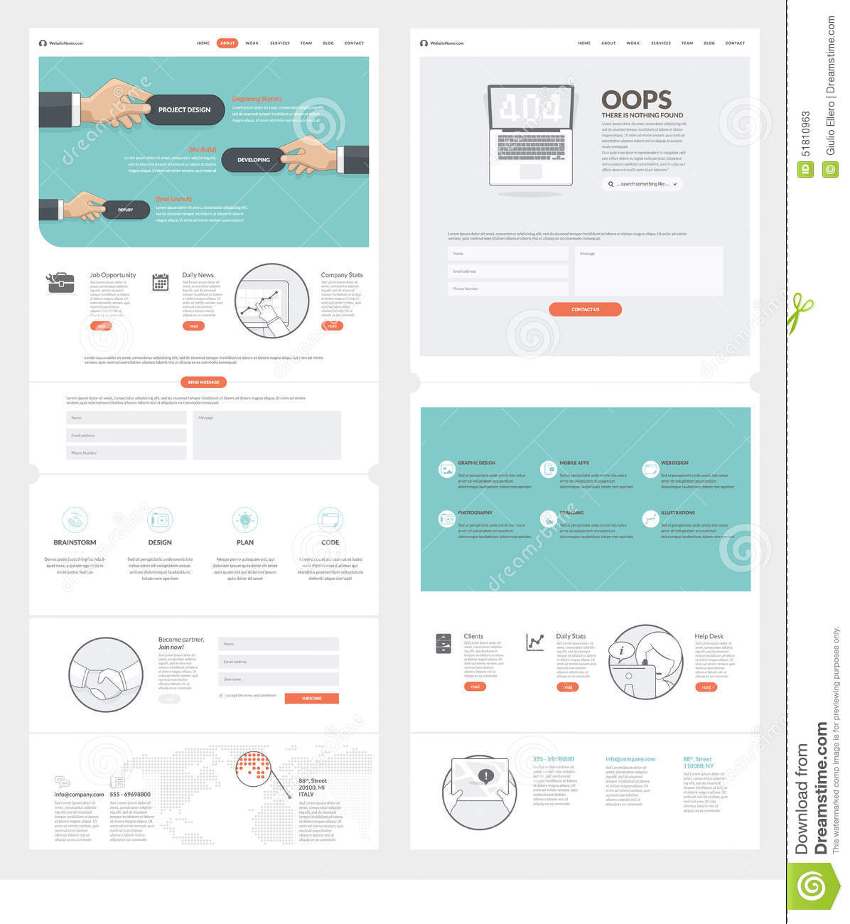 Two Page Website Design Template With Concept Icons And Avatars – Company Portfolio Template