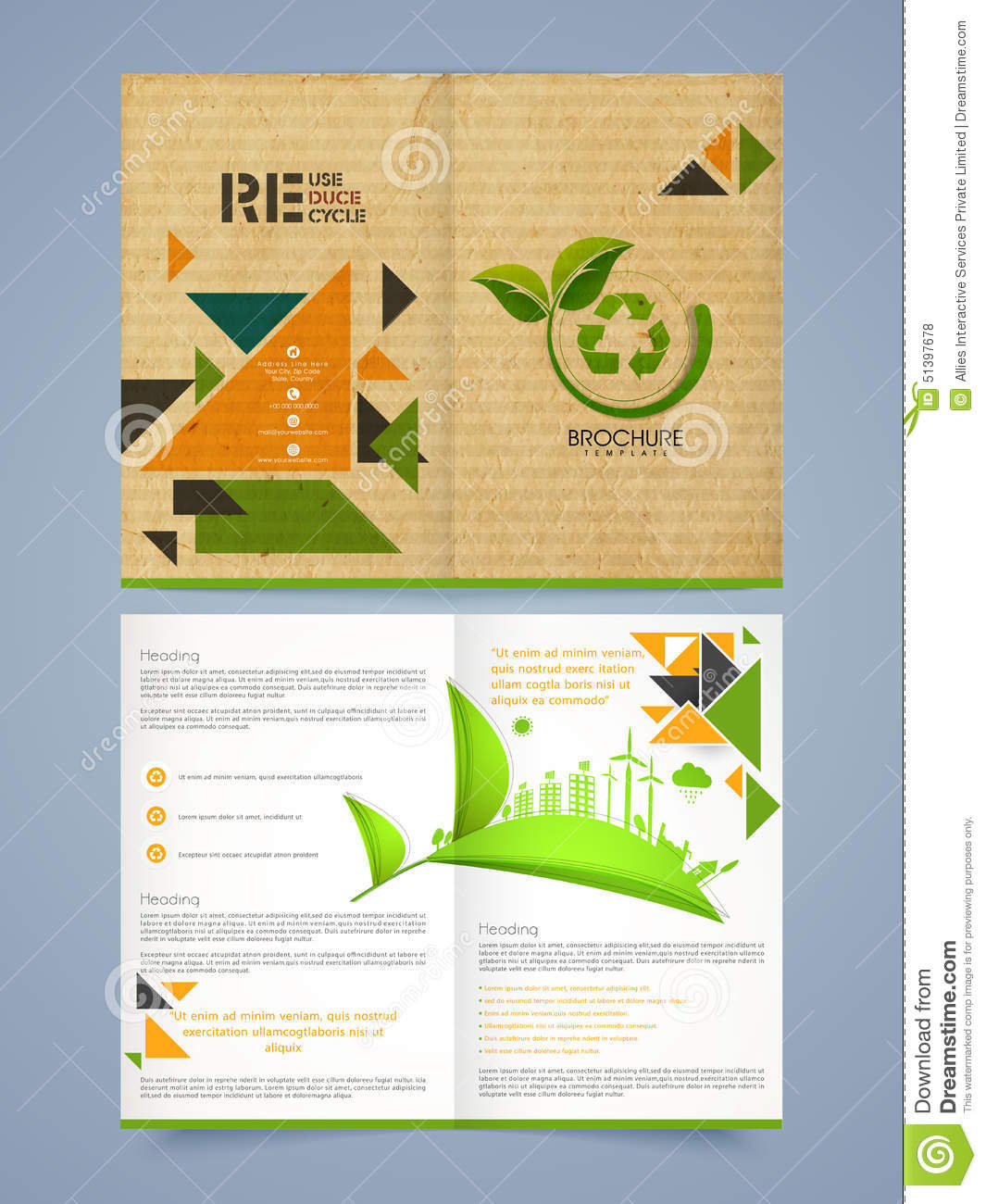 brochure pages template - two pages brochure flyer or template for business stock