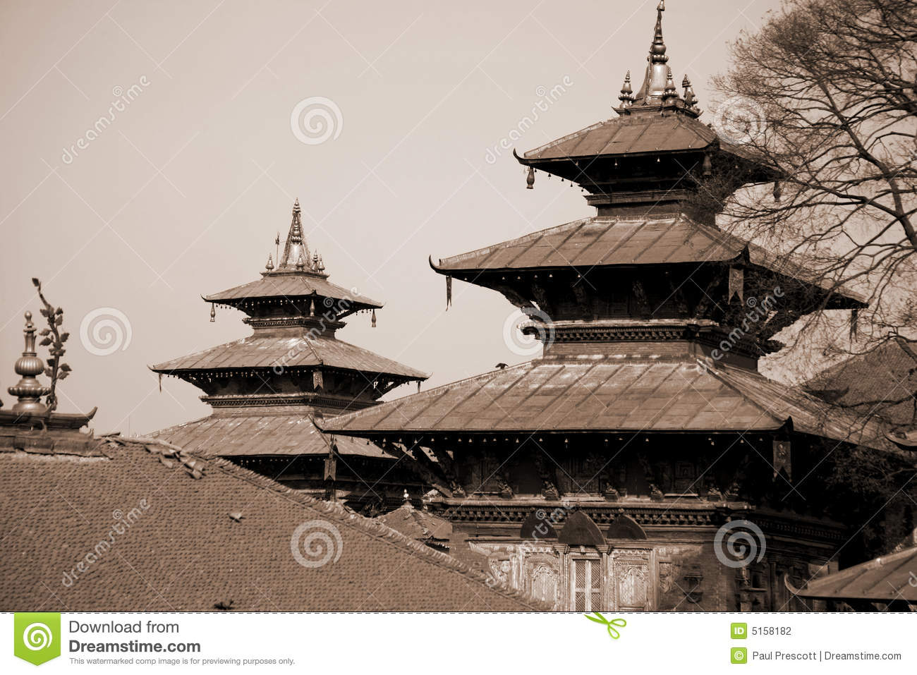 Two pagodas towers in durbar square