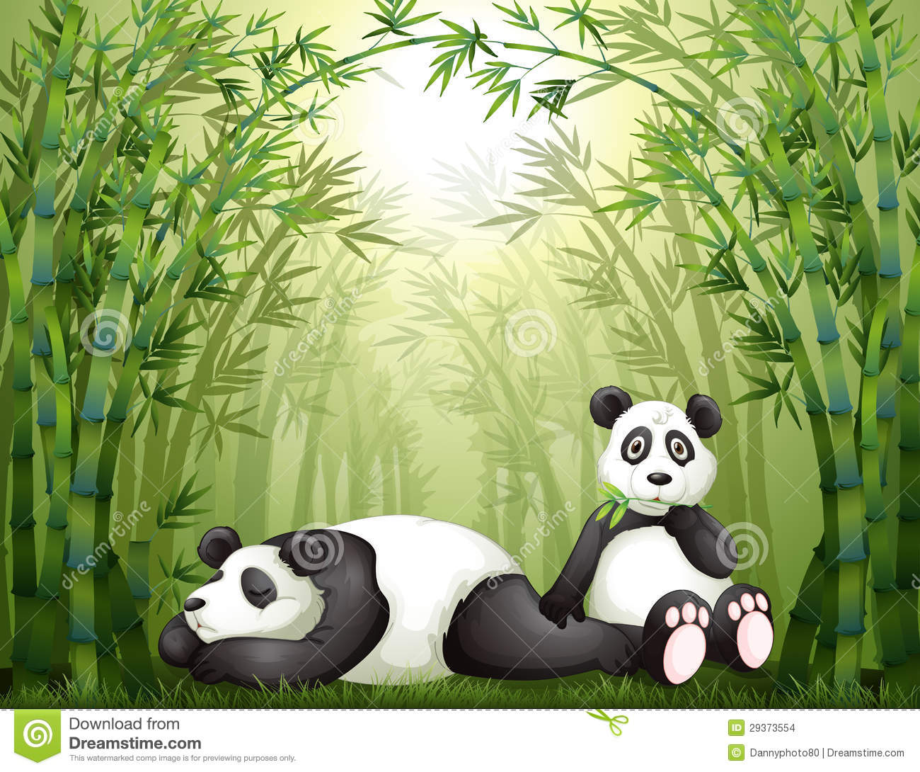 Two Pandas In The Bamboo Forest Stock Illustration Illustration Of