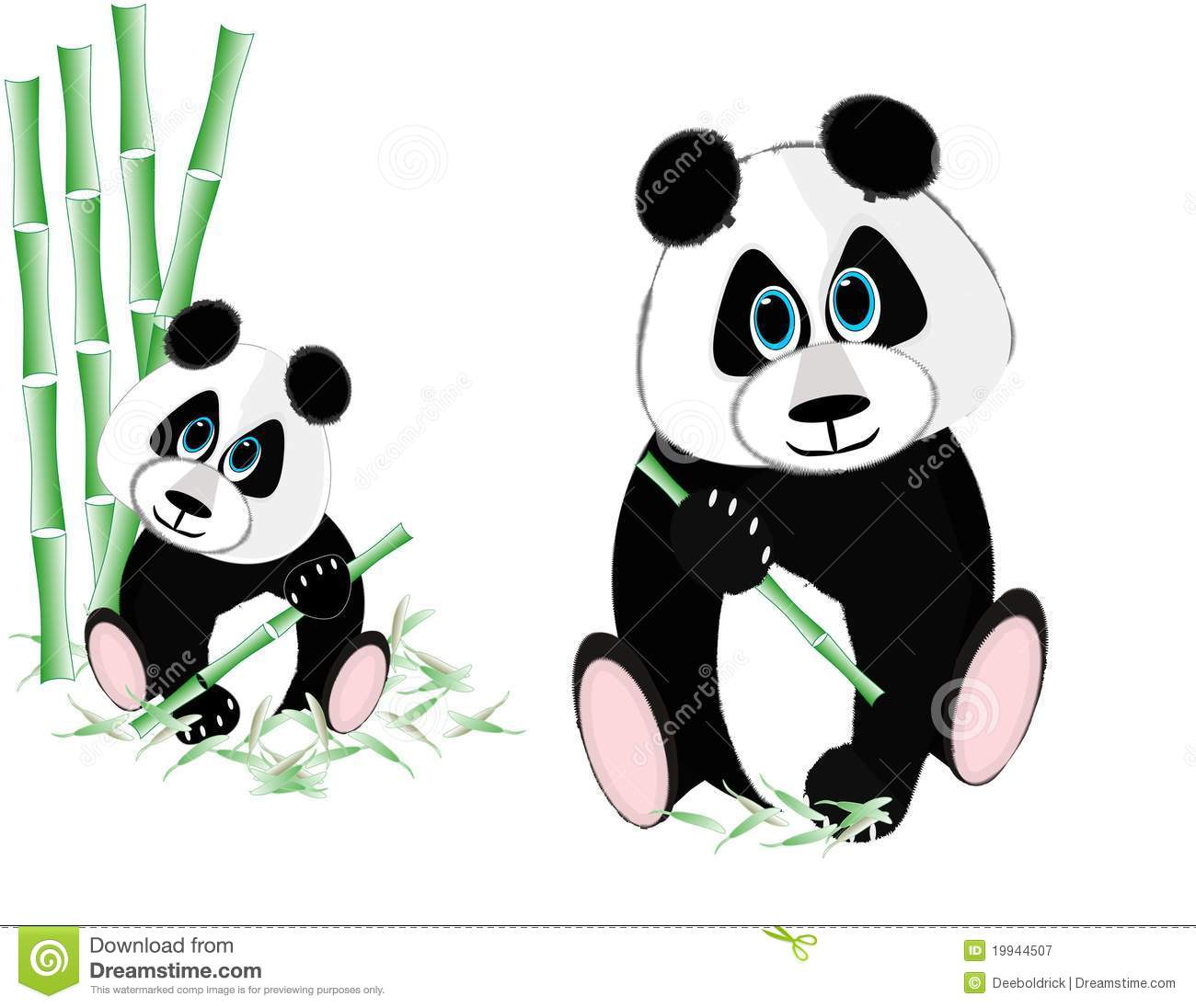 Two Pandas Eating Bamboo Stock Vector Illustration Of