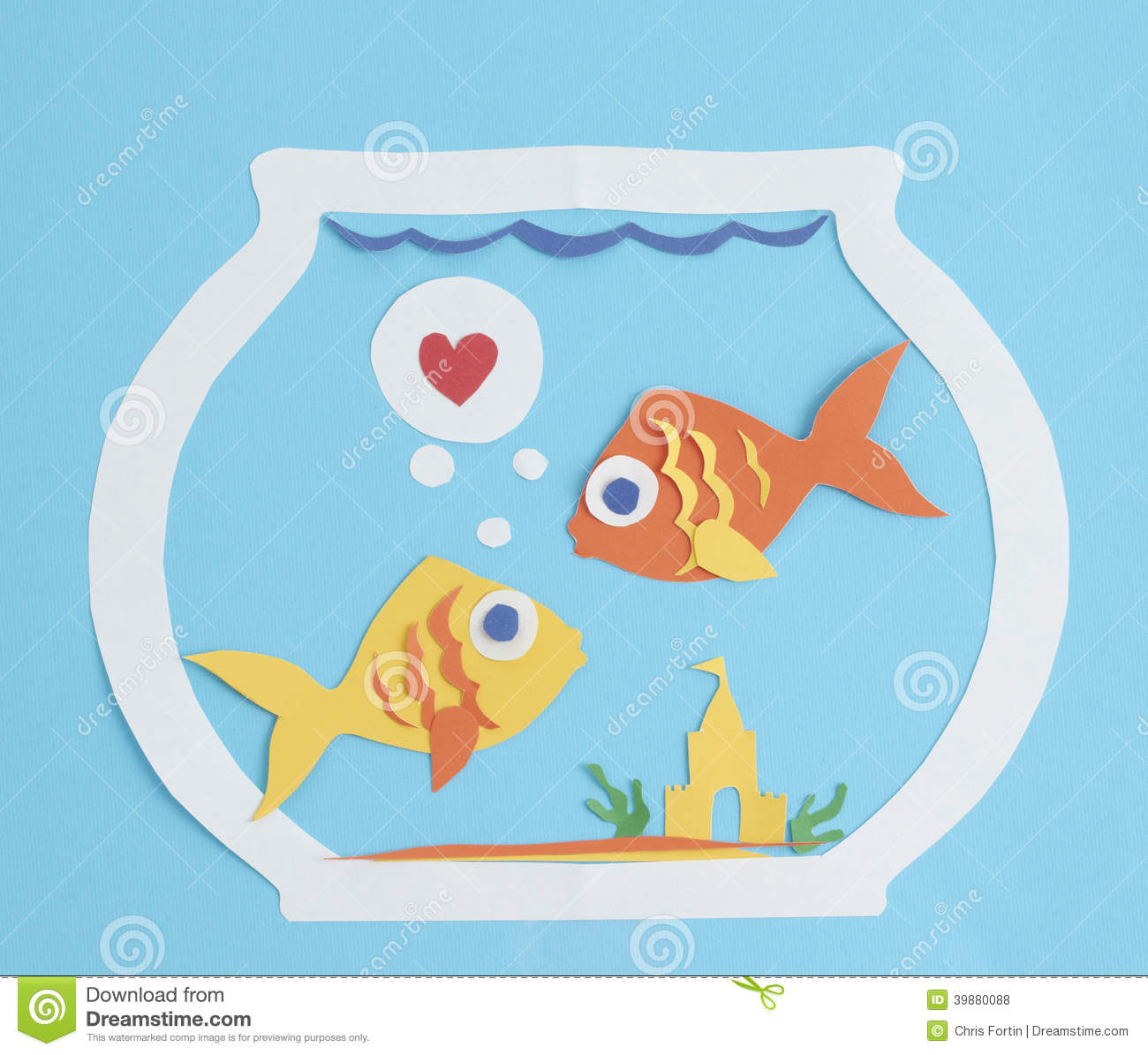 Two Paper Fish In Love Stock Photo Image 39880088