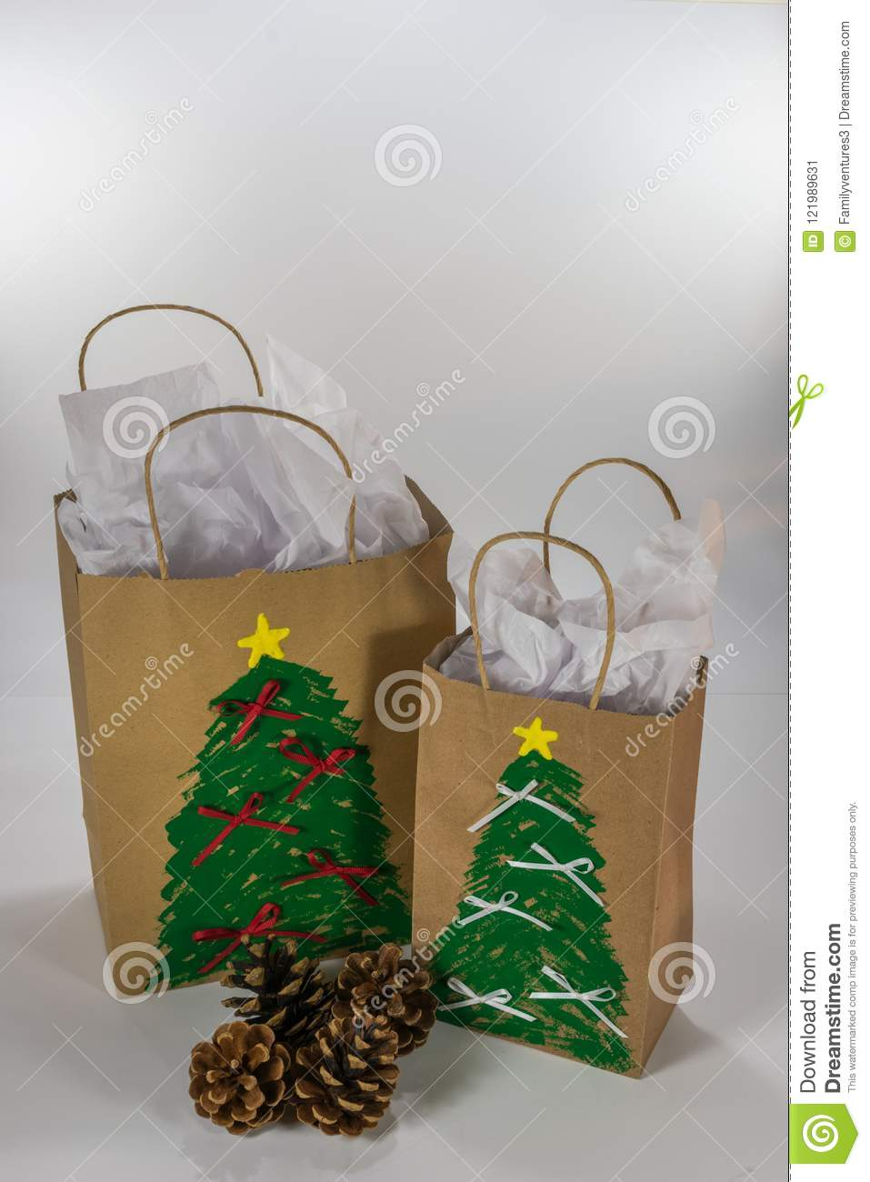 Decorated Gift Bags Ready For Christmas Stock Image - Image of gift ...