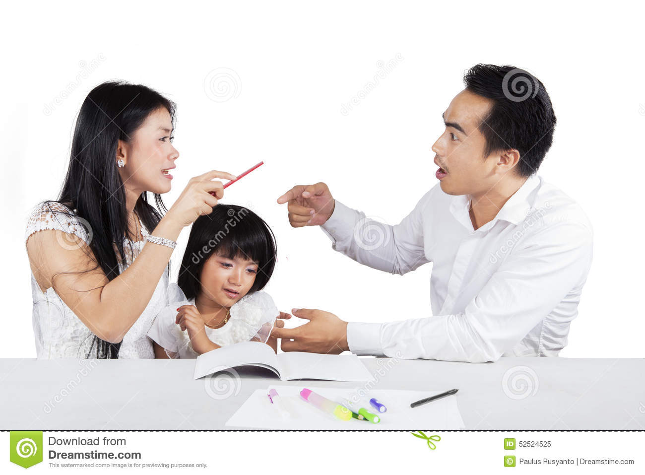 Asian mother arguing with daughter