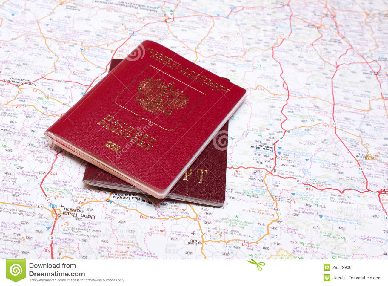 Two passports on the map