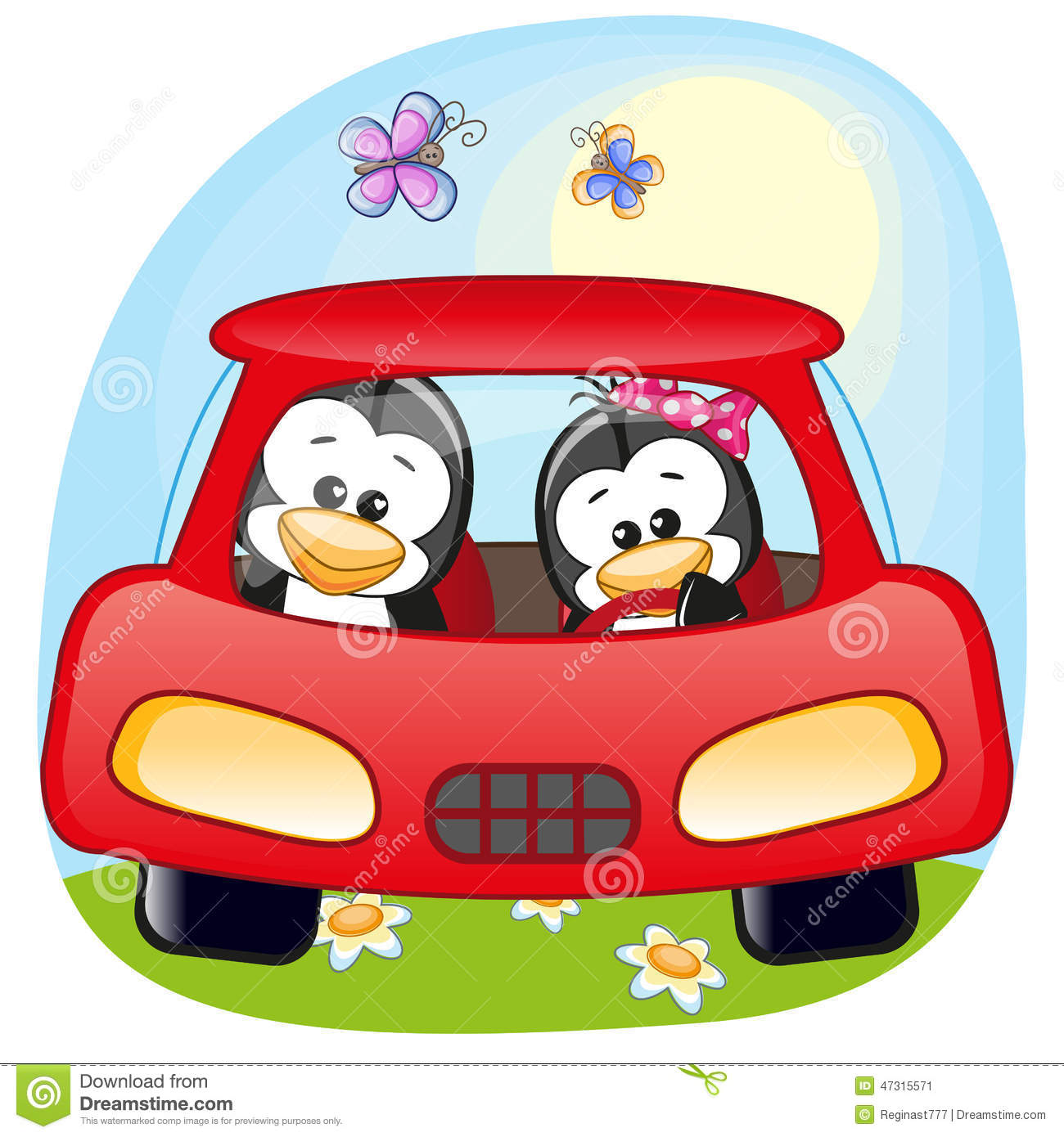 Two Penguins In A Car Stock Vector