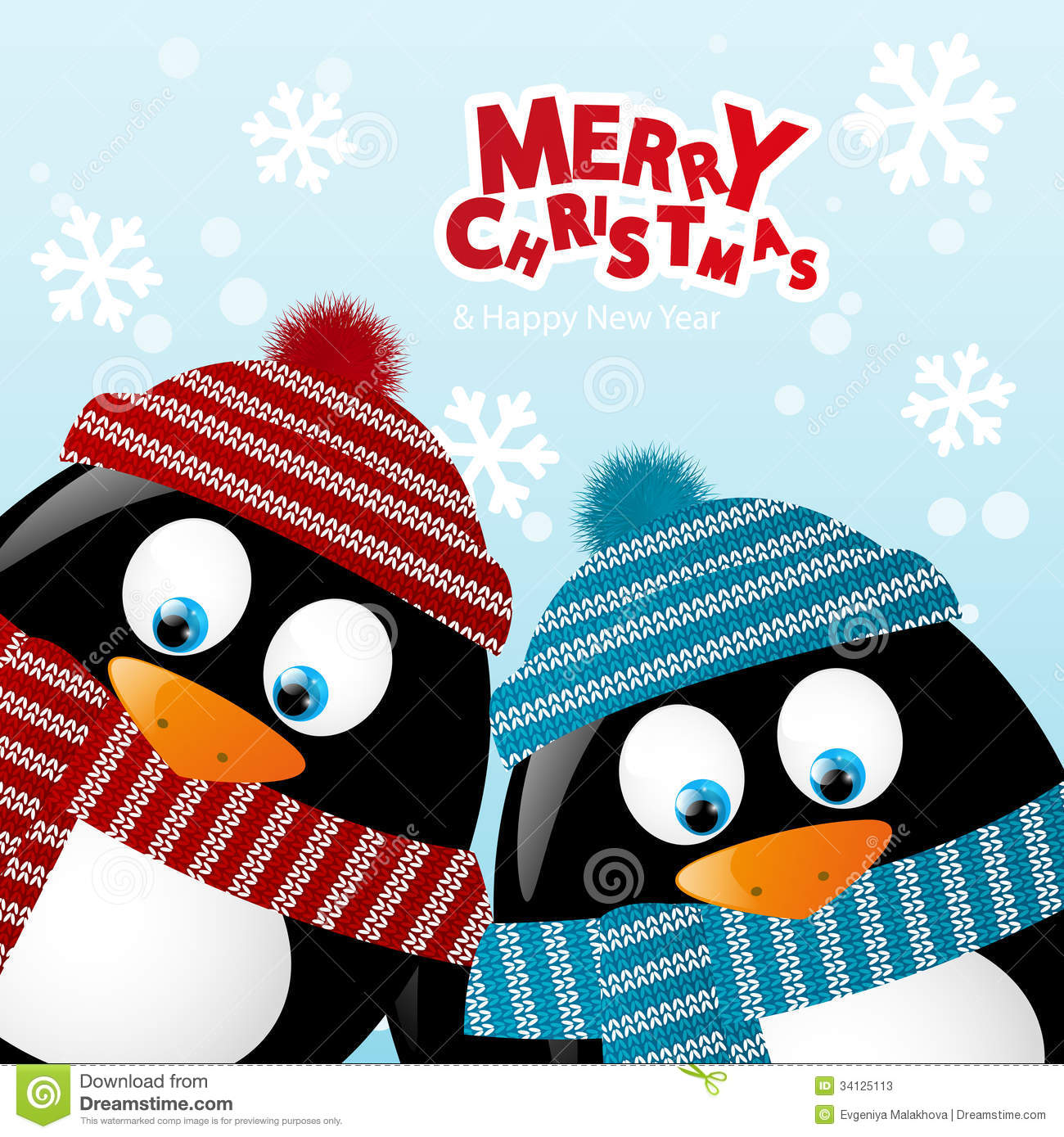 Two Penguins Christmas Card Penguin Vector