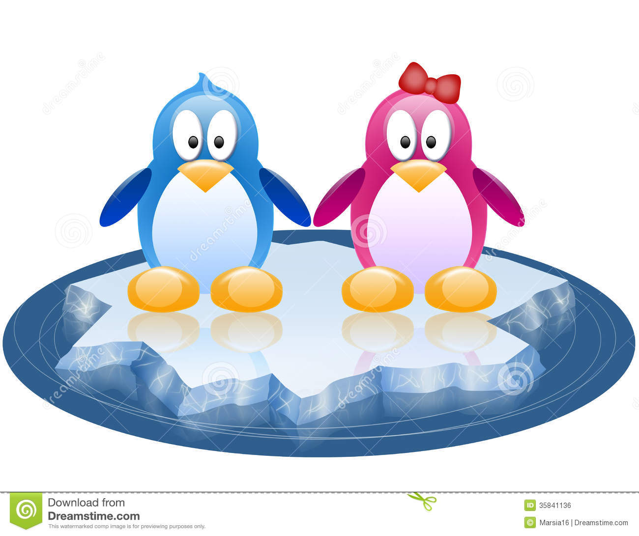 Cute Penguins On Winter Background Royalty Free Cliparts Vectors