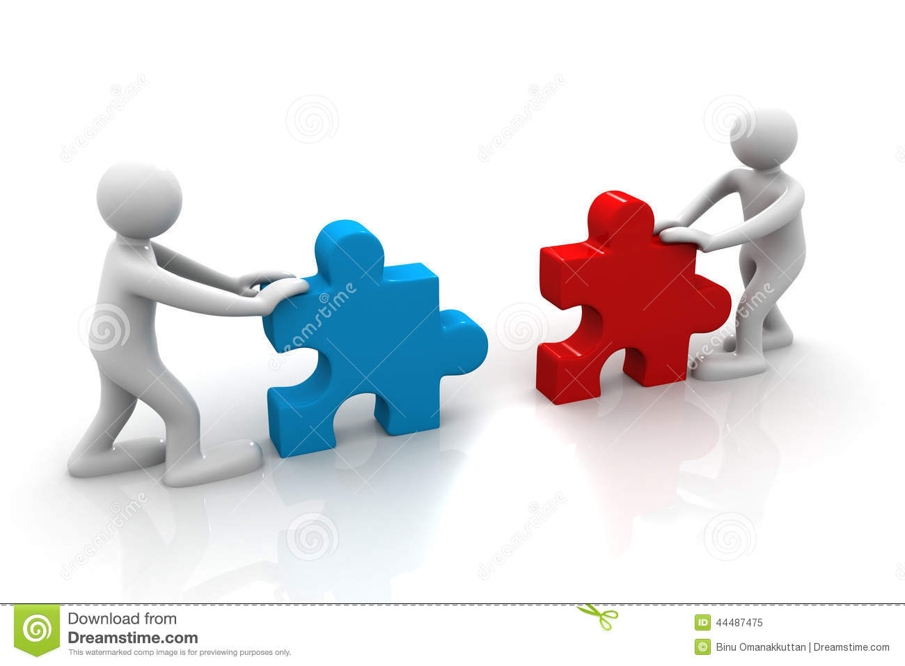 two people assemble tow piece of a puzzle stock illustration