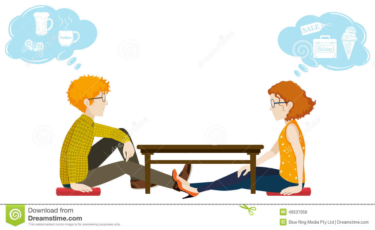 Two People With Different Thoughts Stock Vector Image