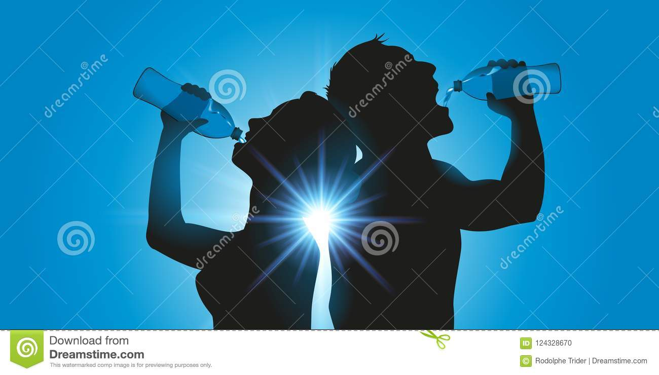 Two people drink water by the bottle