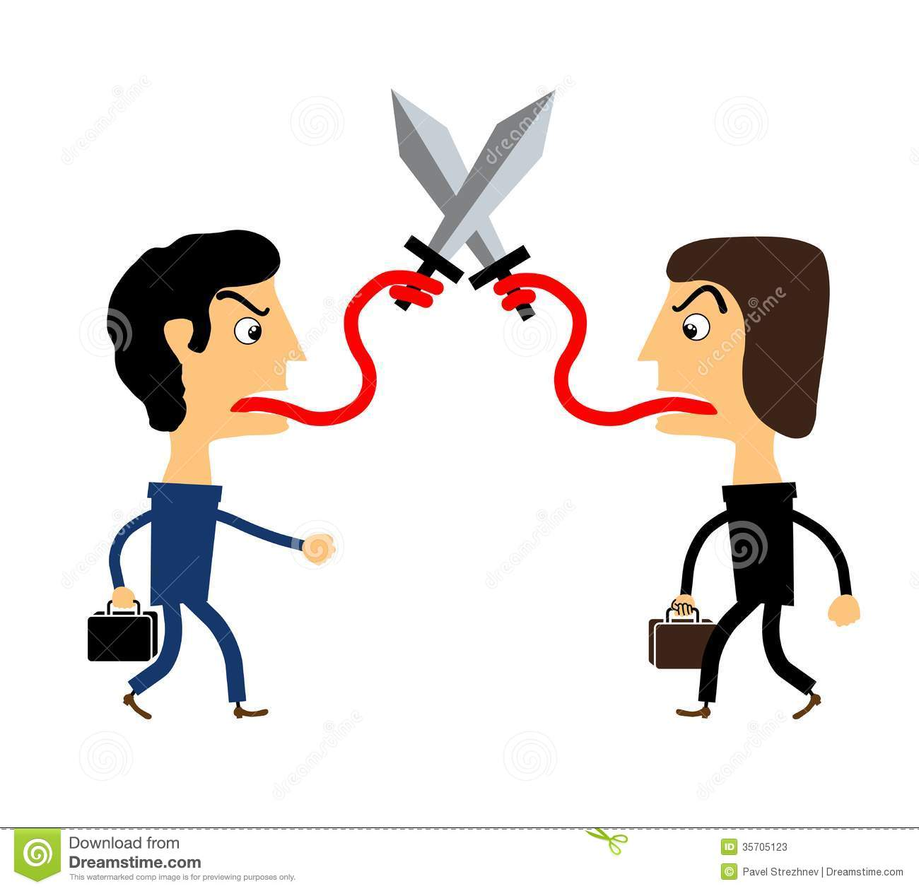 Two People Fighting With Their Tongues Stock Vector ...