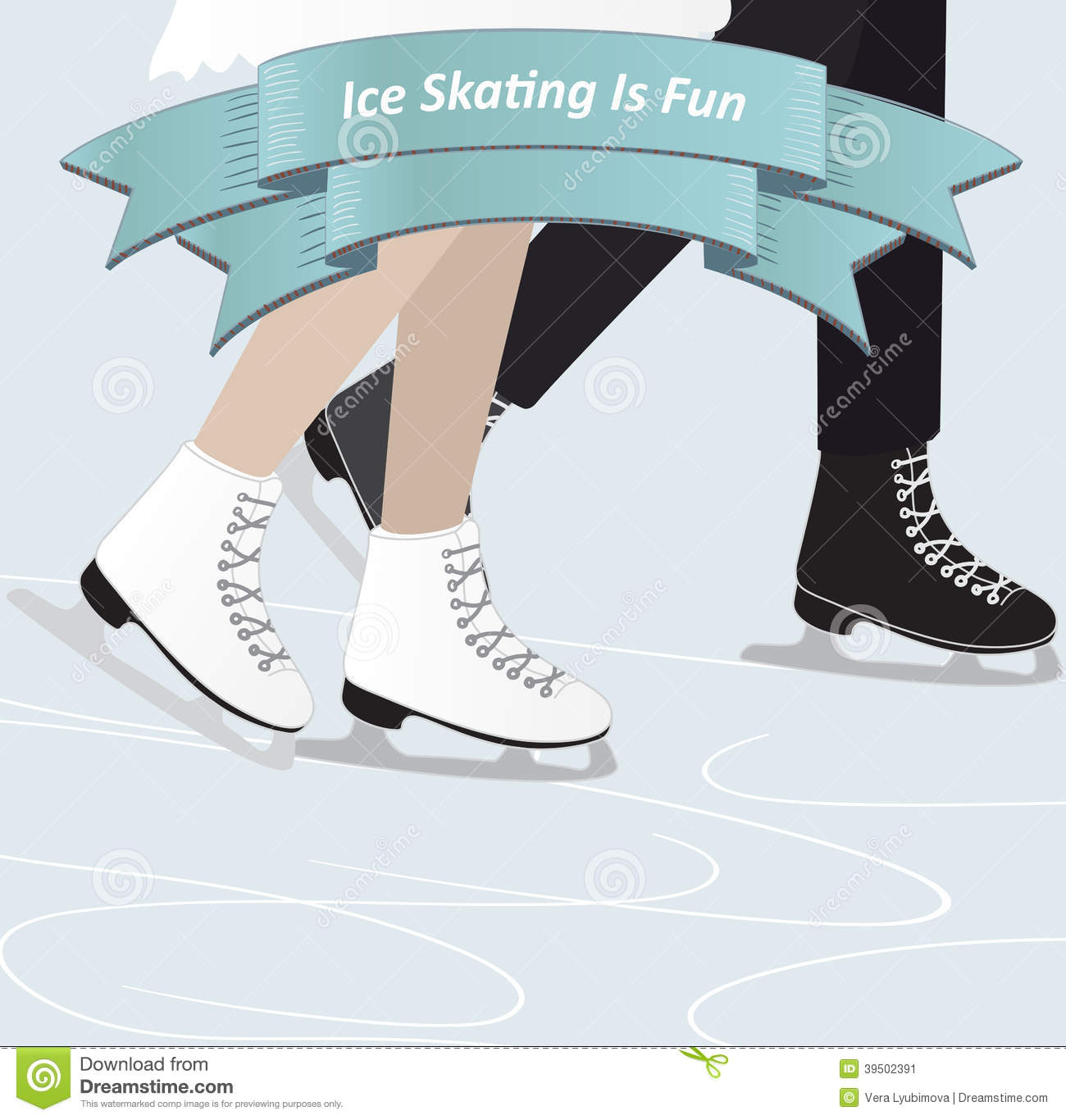 Two people ice skating