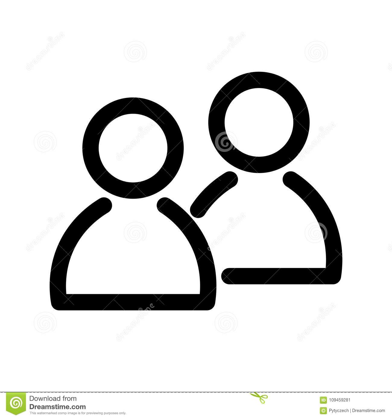 Two people icon. Symbol of group or pair of persons, friends, contacts, users. Outline modern design element. Simple