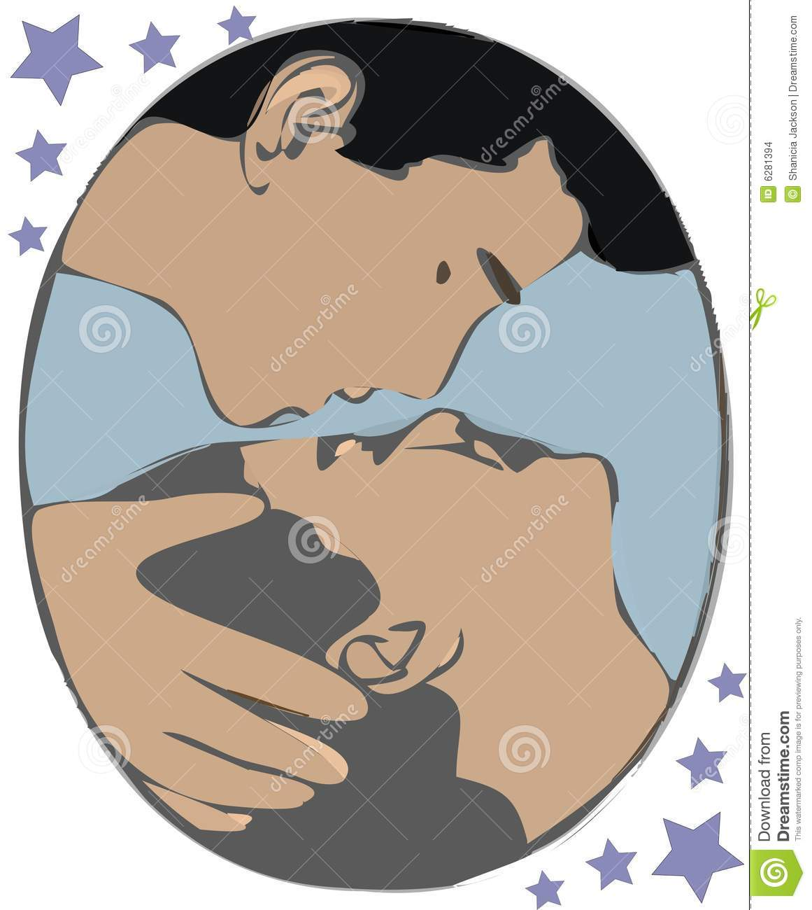 Two people kissing stock illustration. Image of buss ...