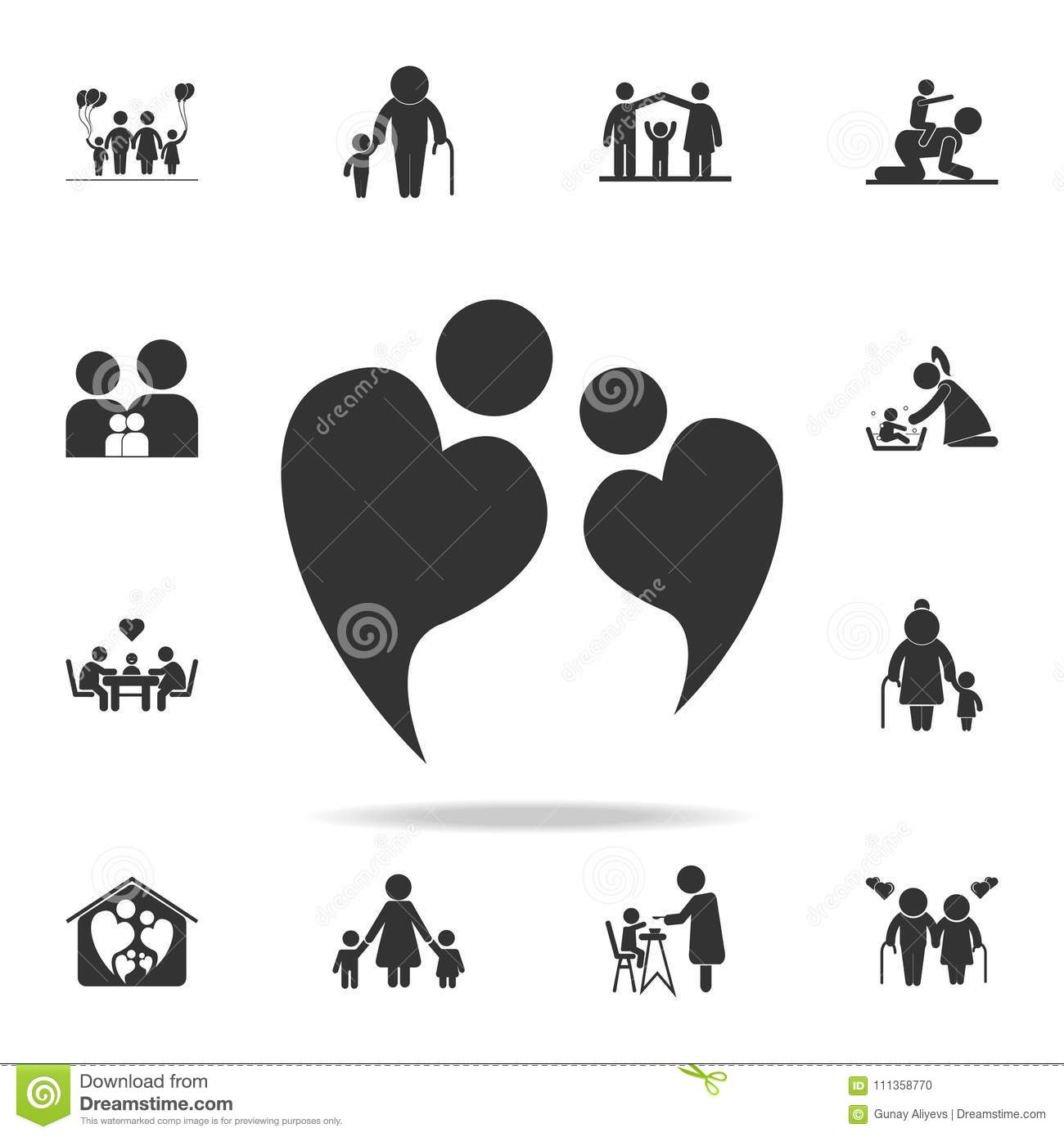 Two People In Love Forming Heart Symbol Icon Detailed Set Of Human