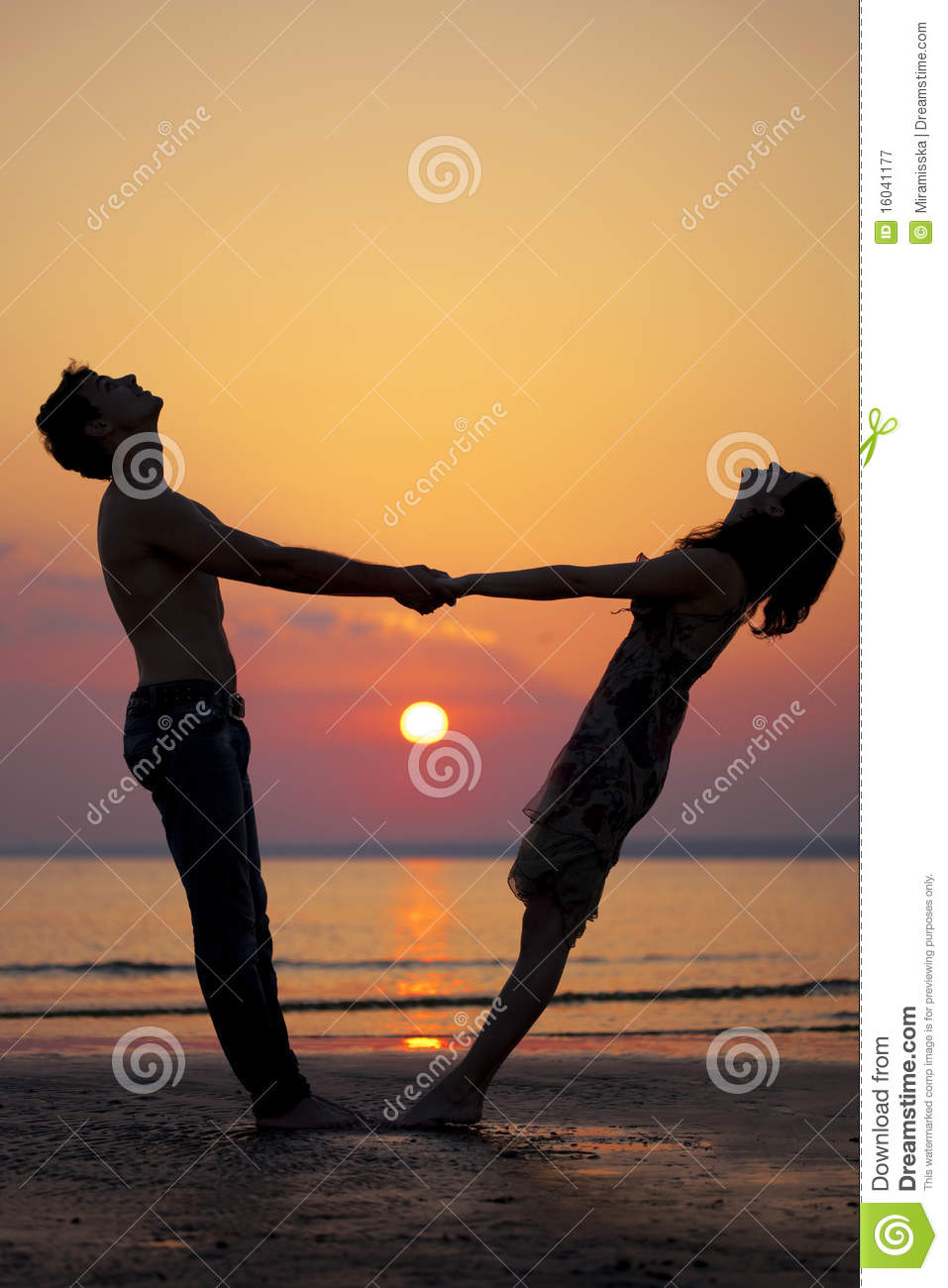 Two People In Love At Sunset Royalty Free Stock ...