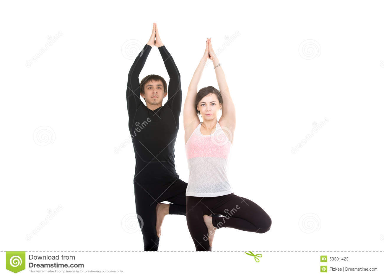 Download Two People Standing In Vrikshasana Yoga Pose Stock Image