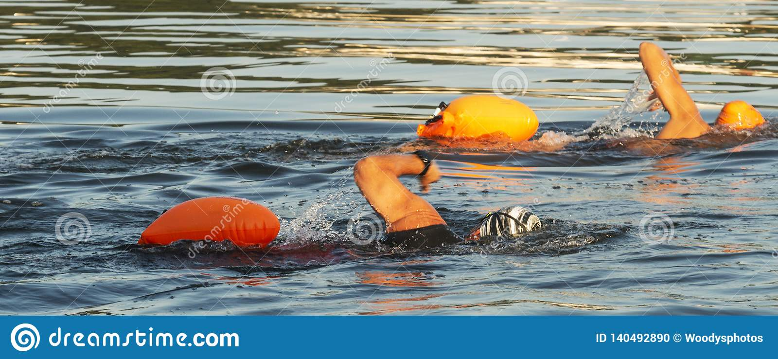 Two simmers with orange flotation divices in water