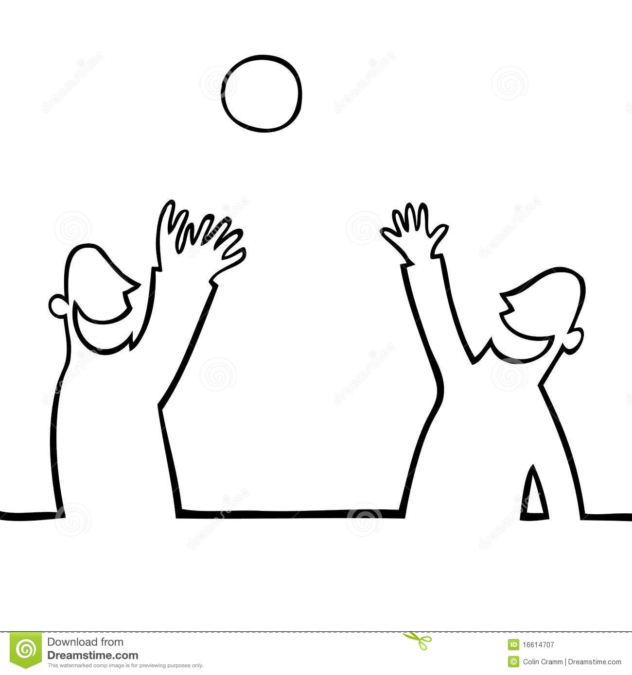 Two People Throwing A Ball At Each Other Stock Vector