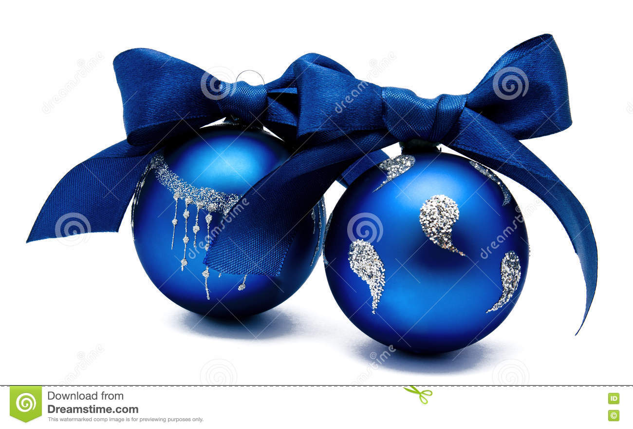 two perfect blue christmas balls with ribbon isolated - Blue Christmas Balls