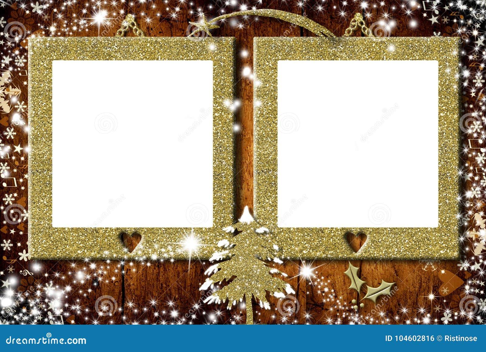 Two Photo Frames Christmas Cards Stock Illustration Illustration