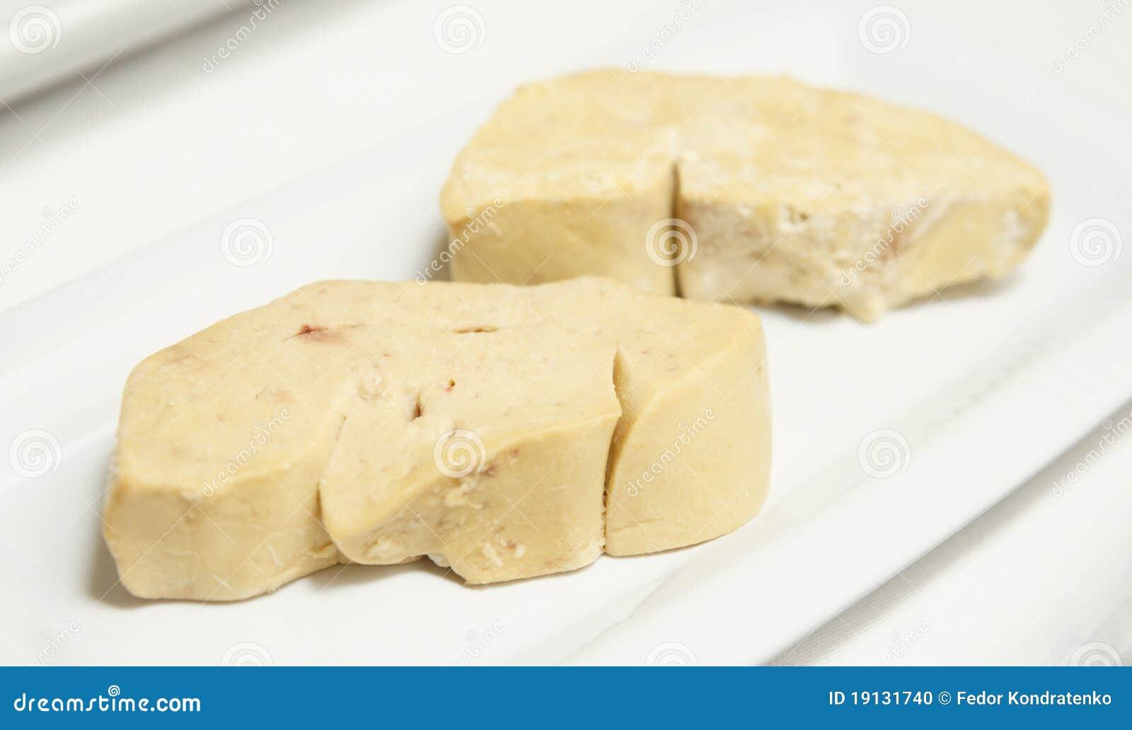 Two pieces of duck foie gras