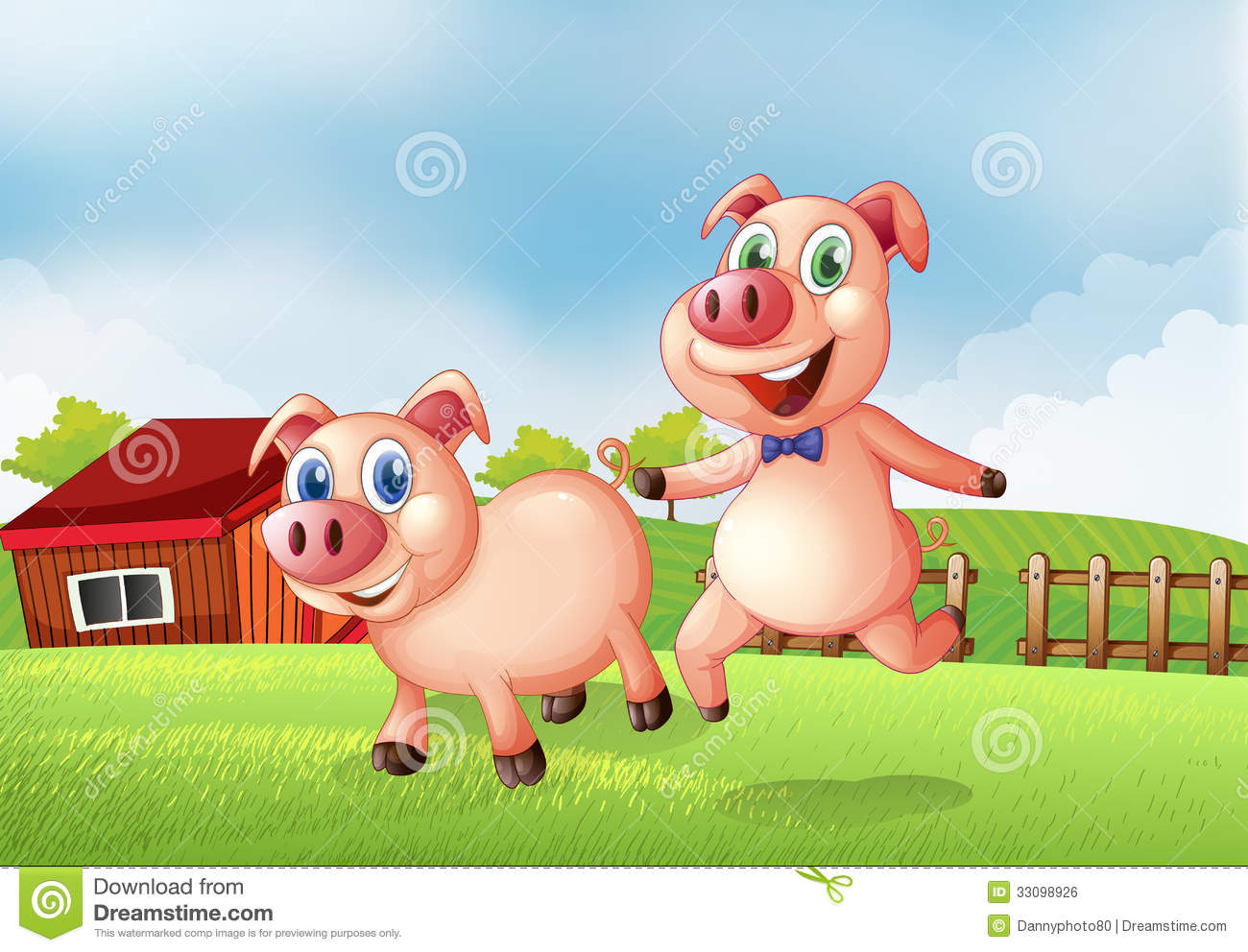 Two Pigs At The Farm Stock Vector Illustration Of Barn