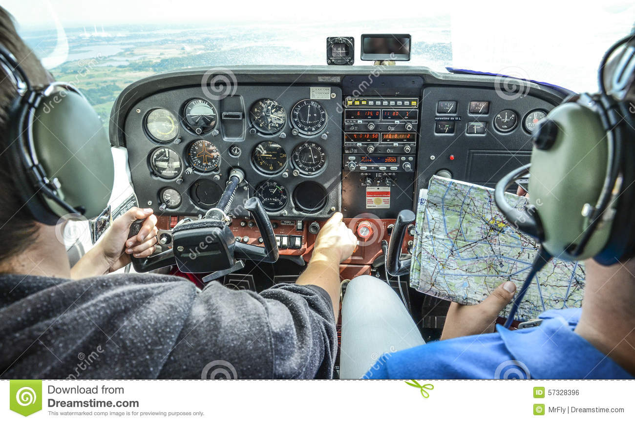 Two pilots flying stock photo  Image of instrumentation