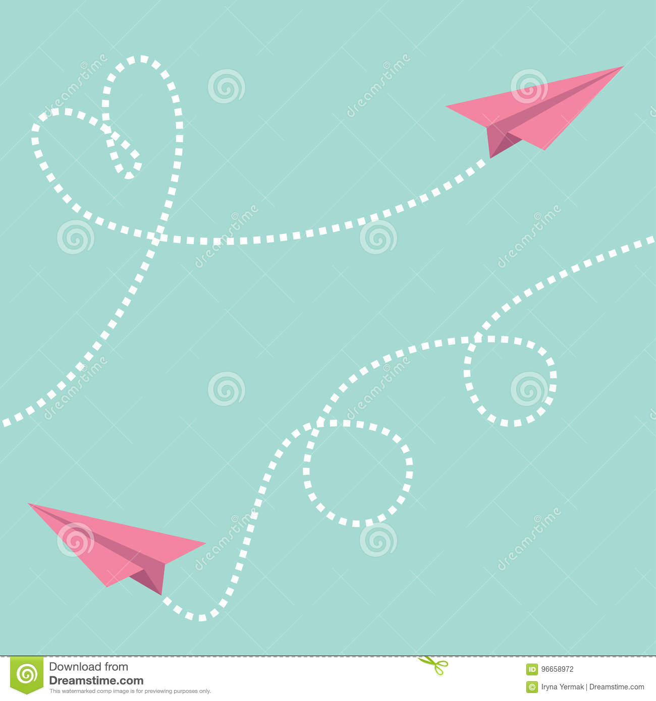 Download Two Pink Flying Origami Paper Plane Dashed Line Heart Loop Happy Valentines Day Greeting