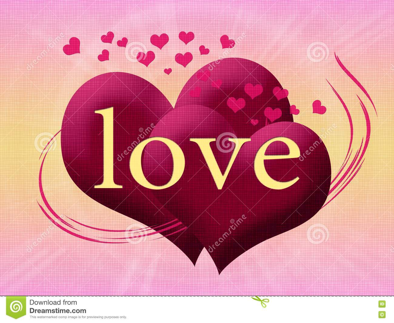 Two Pink Heart With The Word Love Royalty Free Stock ...