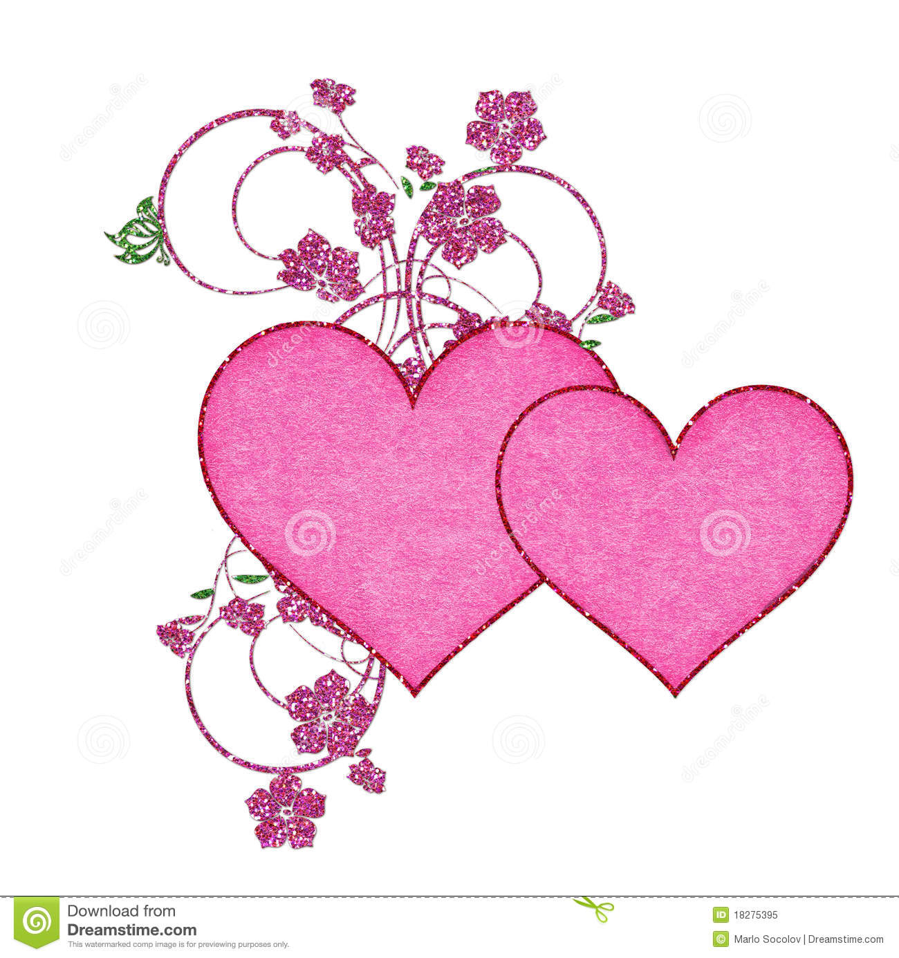 Two Pink Hearts With Glitter Flowers Royalty Free Stock Photo - Image ...