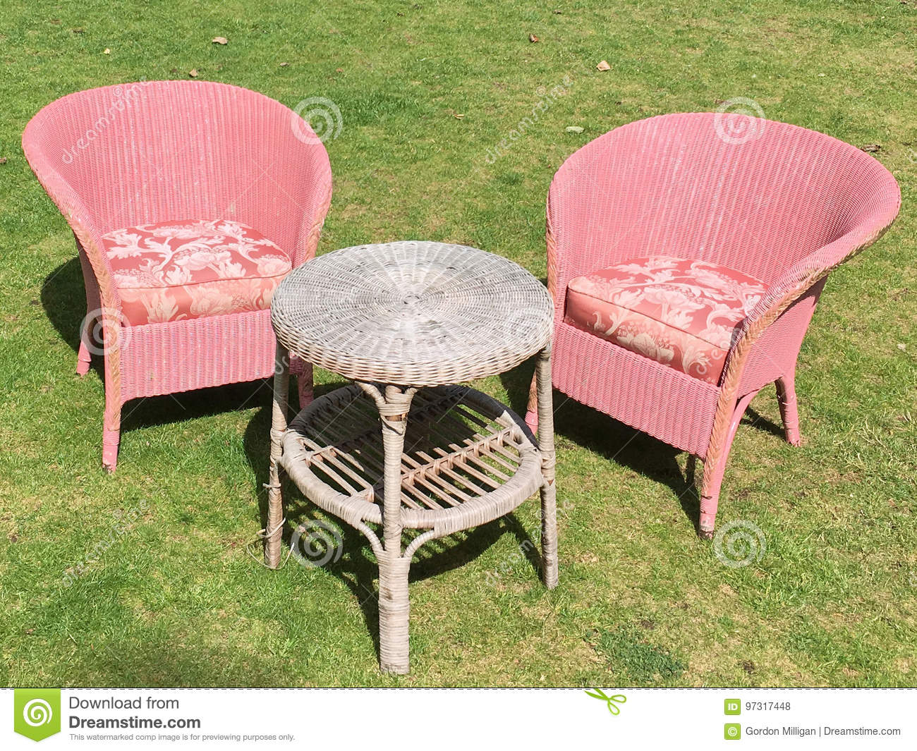 Incredible Two Pink Outdoor Chairs And Table Sitting On The Grass Stock Download Free Architecture Designs Aeocymadebymaigaardcom