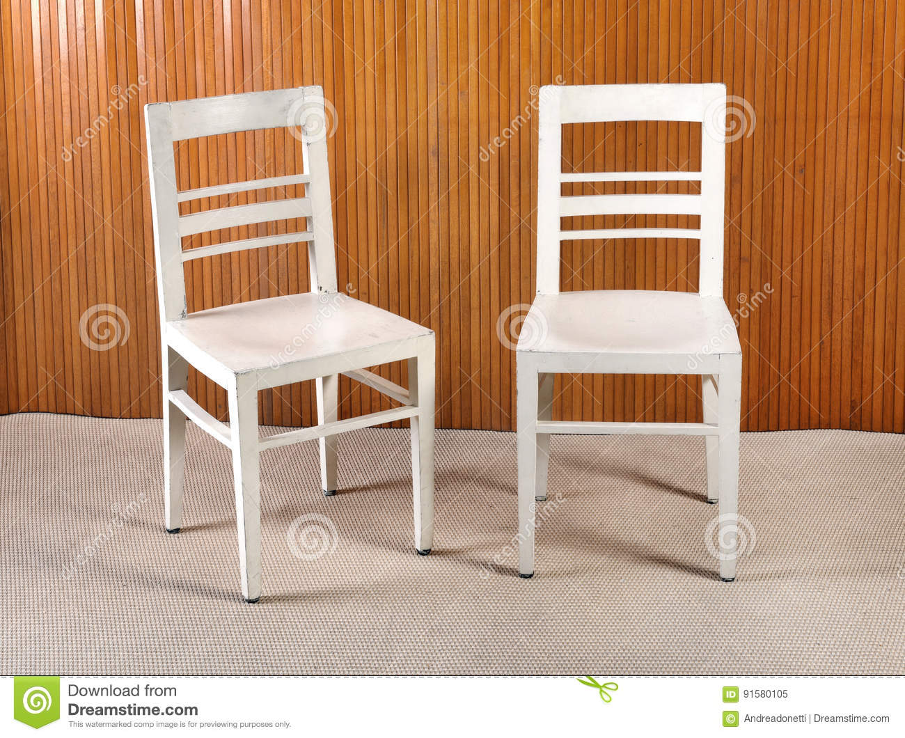 Two Plain White Painted Wooden Kitchen Chairs Stock Image ...