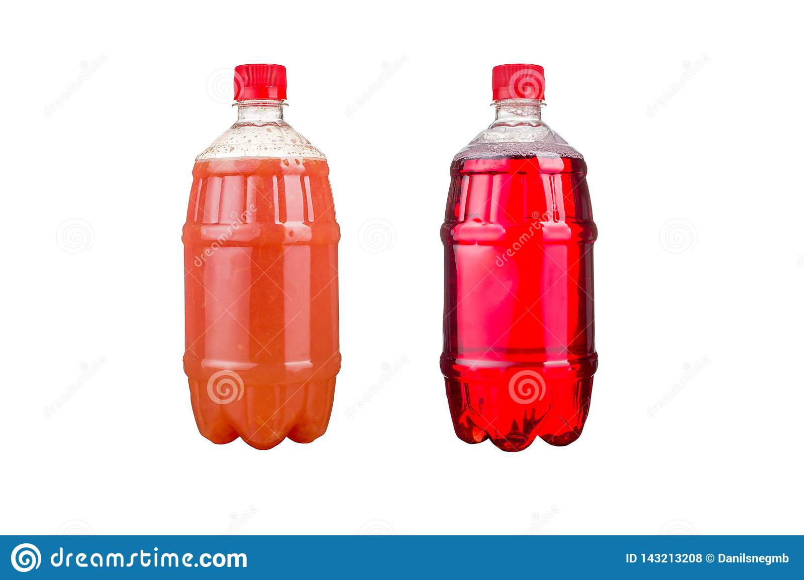 Two plastic bottles with colorful natural juices. Isolated