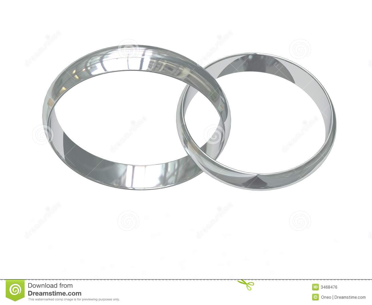 Two platinum or silver wedding rings on white chained together. High ...
