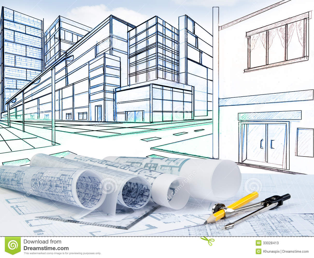 Two point perspective sketching of building on street for Construction architect