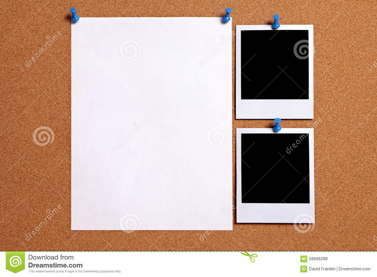Two polaroid style blank photo frames with paper poster pinned to cork notice board, copy space