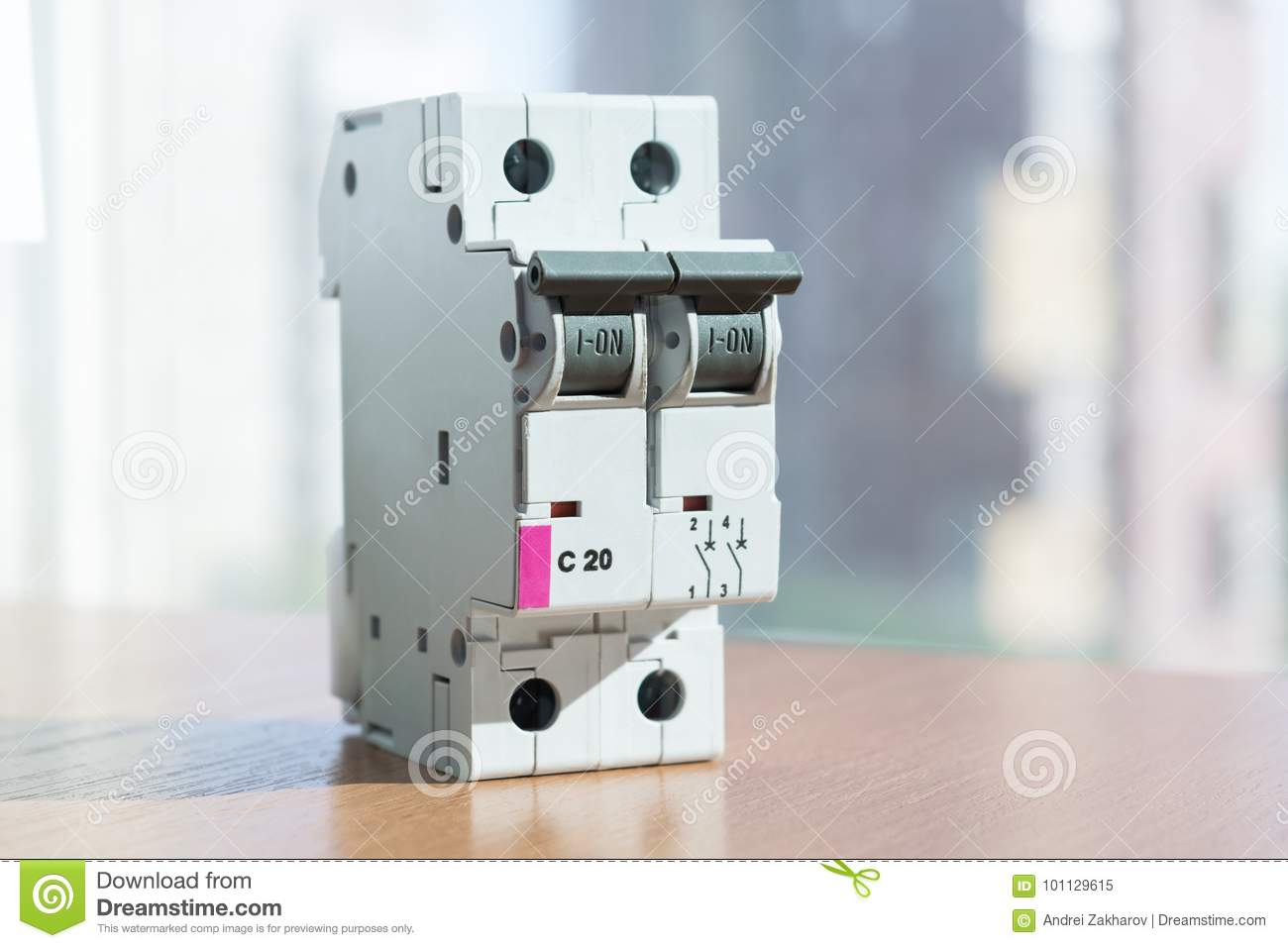 Two-pole Modular Circuit Breaker Is On The Table, Front View. Stock ...